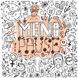 Menopause doodles image. Menopause lettering on creative background made from hand drawn icons in doodle style. Vector illustration, colourful design. Medical vector illustration