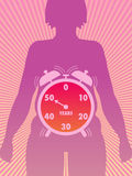 Menopause. Medical symbolic illustration that shows the time of onset of menopause Stock Photo