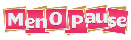 Menopause Pink Squares. Menopause text written over pink background Stock Image