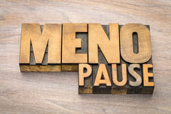Menopause word abstract in wood type Royalty Free Stock Photos