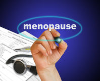 Menopause. Writing word  MENOPAUSE with marker on gradient background made in 2d software Stock Images