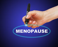 Menopause. Writing word  MENOPAUSE with marker on gradient background made in 2d software Royalty Free Stock Image