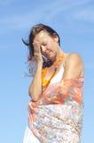 Menopausia mayor del dolor de cabeza de la jaqueca de la mujer Fotografía de archivo