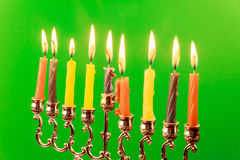 Menora av Chanukkah greenscreen på Royaltyfria Foton