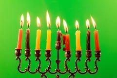 Menora of Hanuka on greenscreen. Hanukkah menorah with candles Royalty Free Stock Images