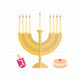 Menorah με τα κεριά, ένα dreidel και ένα κουλούρι με τη μαρμελάδα απεικόνιση αποθεμάτων