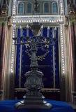 menorah 伟大的犹太教堂,布加勒斯特,罗马尼亚 库存照片