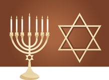 Menorah. Judah star and menorah in front of brown background Stock Photography