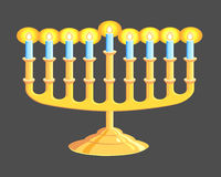 Menorah. A Hanukkah Menorah isolated on black background