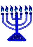 Menorah azul - 7 Lampstand imagem de stock