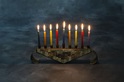 Menorah with burning candles for Hanukkah Royalty Free Stock Photos