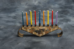 Menorah with burning candles for Hanukkah Royalty Free Stock Photography