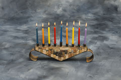 Menorah with burning candles for Hanukkah Royalty Free Stock Photos