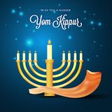 Menorah with burning candles and shofar horn on blue lights back. Ground for Yom Kippur concept Royalty Free Stock Image