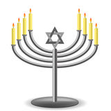 Menorah with Burning Candles  Royalty Free Stock Image
