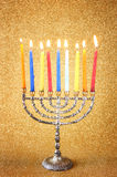 Menorah with candels and glitter lights background. hanukkah concept Royalty Free Stock Images