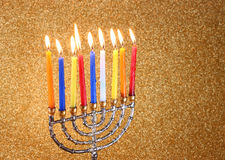 Menorah with candels and glitter lights background. hanukkah concept Stock Photography