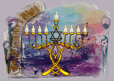 Menorah with candles. On abstract multicolor grunge background royalty free illustration