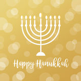Menorah Candles on Golden Bokeh Background. Happy Hanukkah Sign Royalty Free Stock Photography