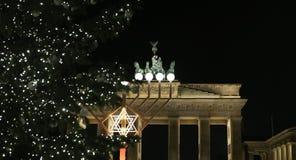 Menorah and Christmas Tree in Pariser Platz, Berlin, Germany. Menorah and Christmas Tree in front of Brandenburg Gate, Pariser Platz, Berlin, Germany Stock Photo