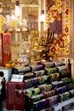 Menorah collection in souvenir shop Stock Photo