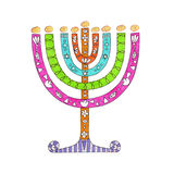 Menorah coloré Photographie stock