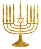 Menorah d'or Photographie stock