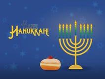 Menorah de Hanoucca avec le sufganiyah, vacances juives de Hanoucca Photographie stock