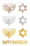 Menorah de Hanukkah e estrela de David ilustração do vetor