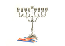 Menorah de prata Fotos de Stock Royalty Free