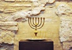 Menorah in de Synagoge van Cordoba, Spanje Stock Fotografie