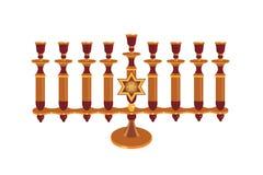 Menorah decorativo aislado Imagen de archivo libre de regalías