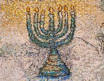 Menorah del mosaico Imágenes de archivo libres de regalías