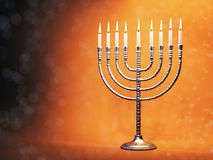 Menorah di Chanukah con le candele brucianti Immagine Stock Libera da Diritti