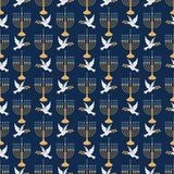Menorah and Dove Seamless Pattern royalty free illustration