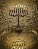 Menorah and dreidels are Hanukkah Jewish holiday symbols Royalty Free Stock Photography
