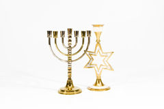 Menorah e castiçal judaicos sob a forma de um St Imagem de Stock Royalty Free