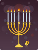 Menorah en dreidel stock illustratie