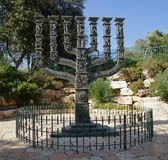 Menorah in front of the Knesset in the Park of Roses Royalty Free Stock Photography