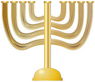 Menorah Gold. A gold Menorah isolated on a white background Royalty Free Stock Photo