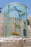 The Menorah - the golden seven-barrel lamp - the national and religious Jewish emblem near the Dung Gates in the Old City of Jerus Stock Photos