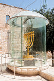 The Menorah - the golden seven-barrel lamp - the national and religious Jewish emblem near the Dung Gates in the Old City of Jerus stock image