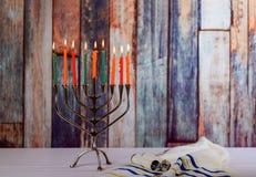 Hanukkah menorah with candles for chanukah celebrationon background. Menorah for Hanukkah celebration with candles for chanukah royalty free stock photo
