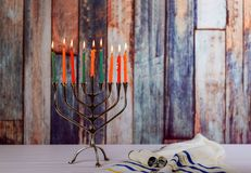 Hanukkah menorah with candles for chanukah celebrationon background royalty free stock photo