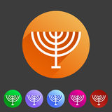 Menorah hanukkah icon flat web sign symbol logo label. Set Stock Photos