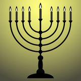 Menorah for Hanukkah with shine. Religion icon. Vector illustration Stock Photography
