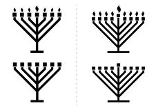 Menorah / hanukkiah with / without lights, candles Stock Image