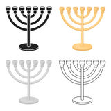 Menorah icon in cartoon style isolated on white background. Religion symbol stock vector illustration. Stock Images
