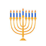 Menorah icon in flat style. Menorah icon in flat style isolated on white background. Hanukkah traditional symbol. Vector illustration Royalty Free Stock Photo