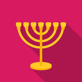 Menorah icon in flat style isolated on white background. Religion symbol stock vector illustration. Royalty Free Stock Image